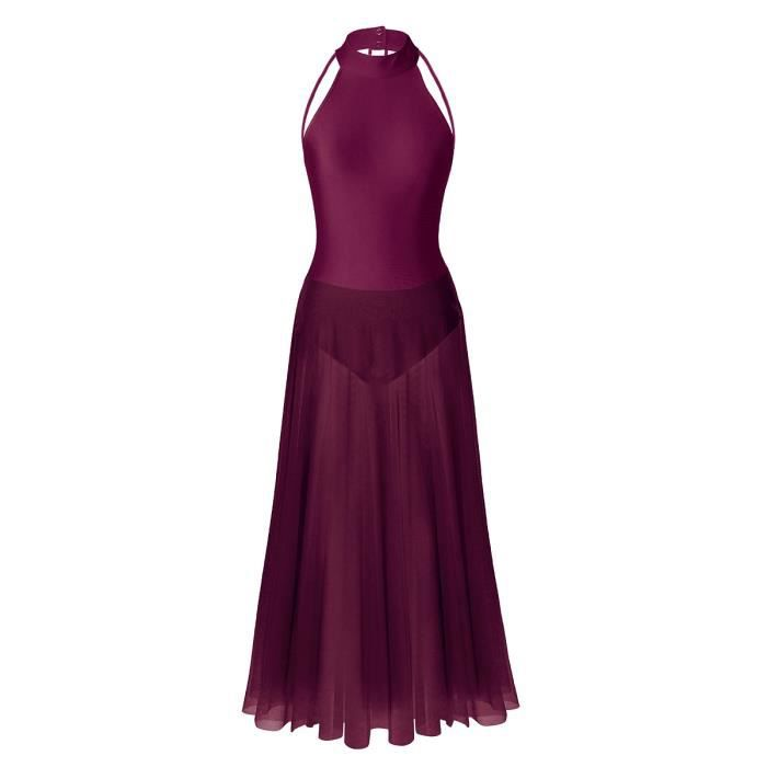 Robe Danse Classique Femme Justaucorps Latine Rumba Zumba Salsa Jazz Tulle  Jupe S-XXL Bordeaux 04f2587cdaf