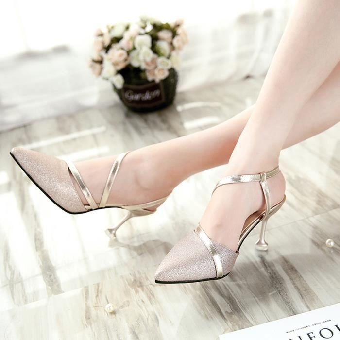 Chaussures Paillettes Simples Mode Pointu Talon Femmes Sauvages Or De Sandales Haut Sexy Stiletto gvmIb7Yf6y