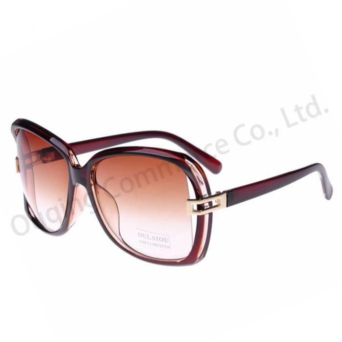 Vintage Lunettes de soleil creux marron marronFemmes Grand Cadre Fashion Square personnalité Lunettes UV400