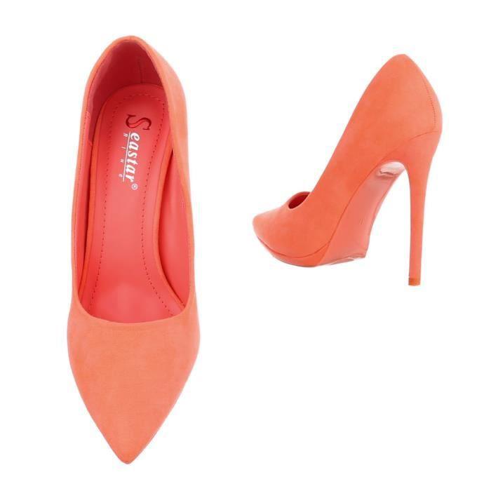 Noir orange gris Talons apricot Chaussures Femme Hauts Coral rose 37 Escarpin qwnRx6SfgY