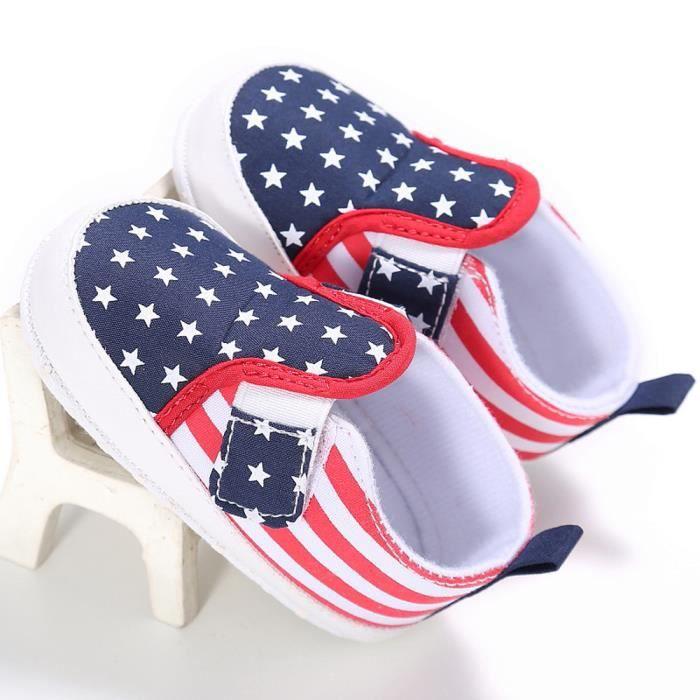 Frankmall®Bébé mignon chaussures de berceau glisser chaussures confort mocassins premarcher anti-dérapantes BLEU#WQQ0926215