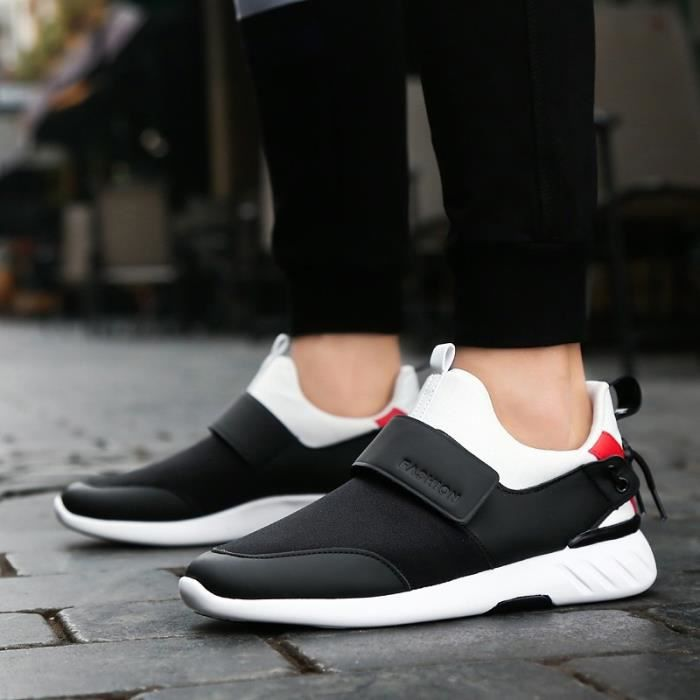 Toe taille42 Shoesantiusure noir Homme Round Sneakers Skateshoes Velcro Casual w4Hq1UI