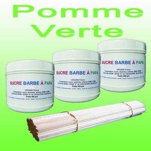 CONFISERIE DE SUCRE Lot de 3 pots de Sucre barbe à papa Pomme Verte 50