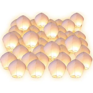 LAMPION Lot de 50 Lanternes volantes blanches blanc surpri