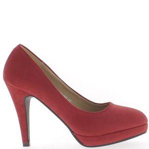 ESCARPIN Escarpins femme rouges talons 10cm brides et plate