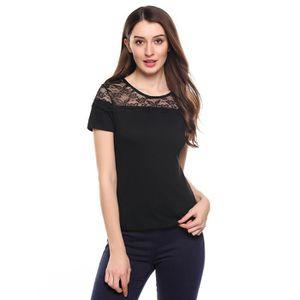 T-SHIRT T-Shirt élastique Casual O-cou à manches courtes d
