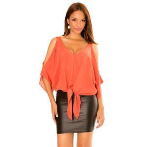 09eeb275f7230 Dmarkevous - Top orange femme manche chauve souris et épaule nu ...