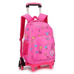 Cadeaux Rentree Scolaire Trolley Bag Sac à Dos Scolaire avec roulettes Fille Primaire Sac à Dos de Voyage Cartable à roulettes Fille Princesse Noir 2 Roues Bagages Bagages enfant