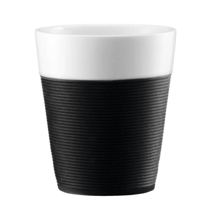 BODUM BISTRO Set 2 mugs en porcelaine avec bande silicone 0,3L noir et blanc