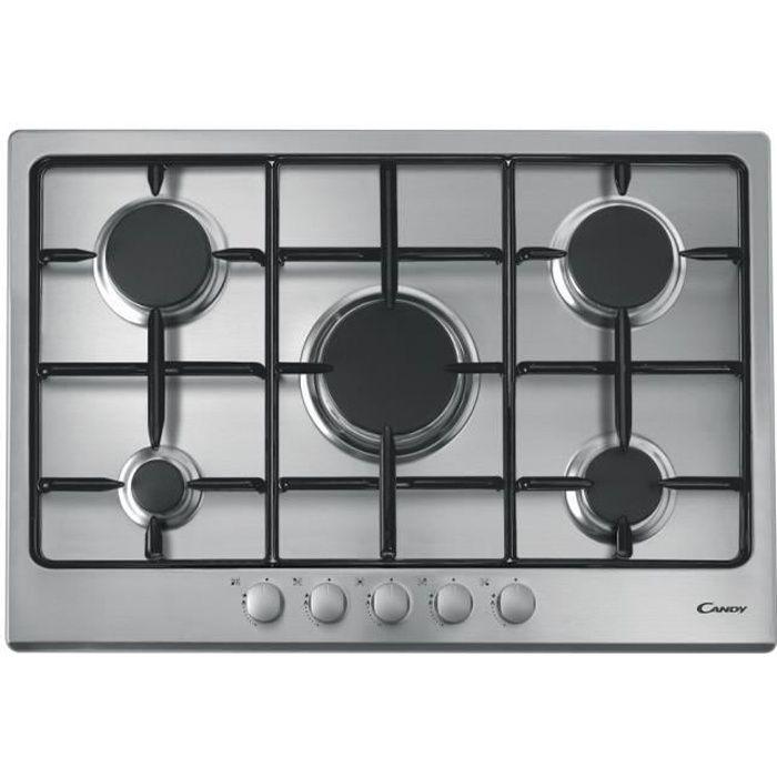 CANDY CTG1057X - Table de cuisson Gaz - 5 foyers - 11250W - L75 x P51cm - Revêtement inox - Coloris