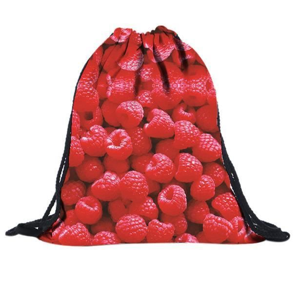 Backpack Drawstring À D'impression Sacs ly 2651 Rouge 3d Dos Fraise Unisexe nwgqxRf4