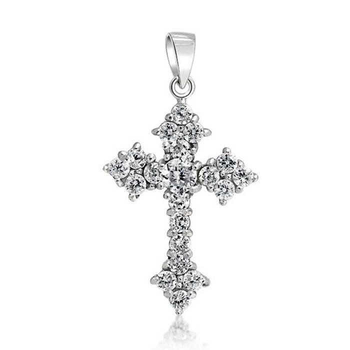 Bling Jewelry pendentif en argent Croix pendentif Zirconiums ronds
