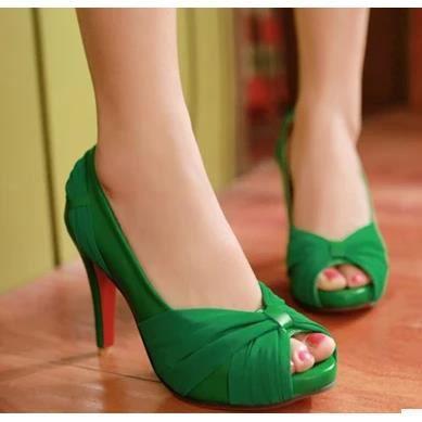 Chaussures dentelle, les chaussures tête de poisson à l'arc dames sexy hauts talons, vert 38