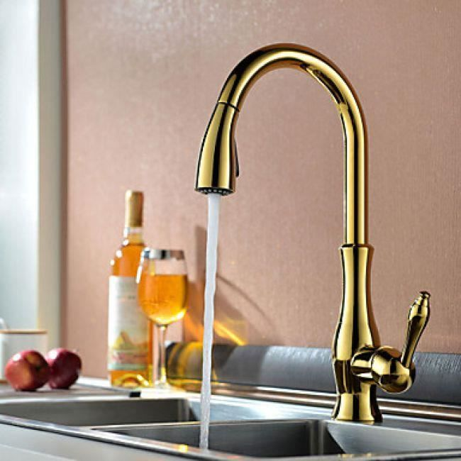 Simple de cuisine robinet de cuisine couleur or design - Robinet de cuisine design ...