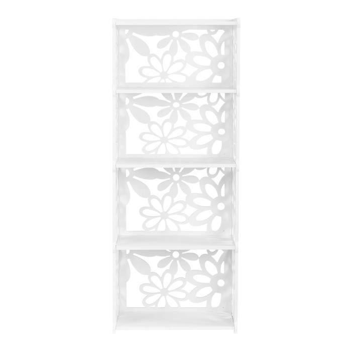 Elegant Finether 4 Tier Etagère De Stockage Rangement Composite Bois  Plastique  Pour Maison Bureau Cuisine Chambre Blanc