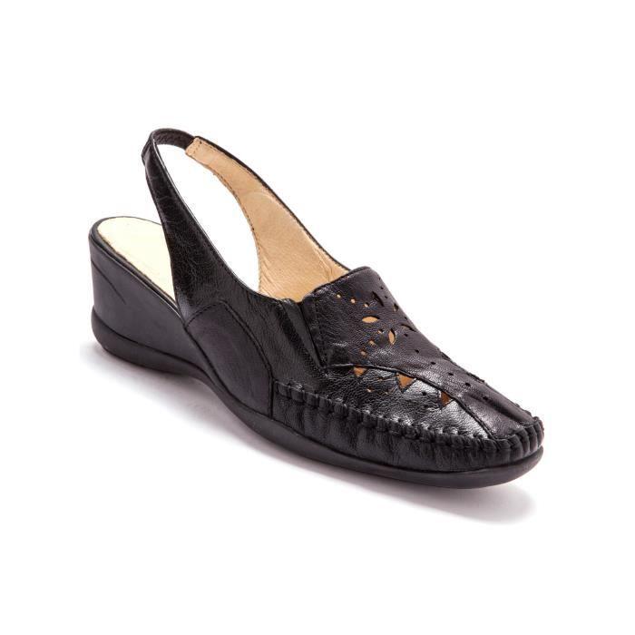 Sandales ajourées cuir, talon 5cm