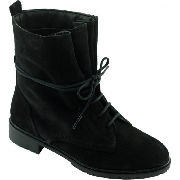 HALIO - Bottine bout rond à lacet et semelle crantée chaussures Femme marques Angelina cuir velours noir