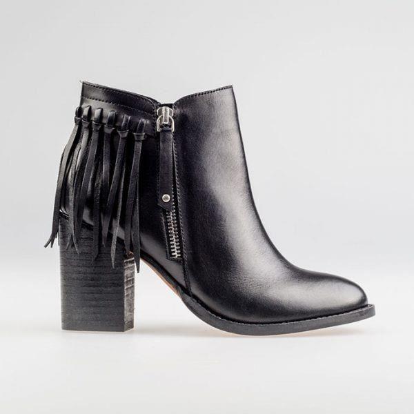 Bottines - FLAPPER Black en cuir, à franges - 42 Noir Noir - Achat ... c3dd9c6c1c7b