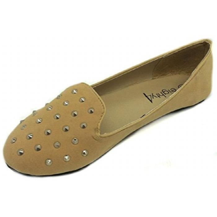 Womens Faux Studded Loafer Smoking Shoes Flats 3 Colors DN66E Taille-38