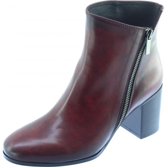4eea4040fd199a SON VILAR – Bottine talon haut chaussures luxe boots petites pointures  petites tailles femme marque Plumers cuir patiné bordeaux