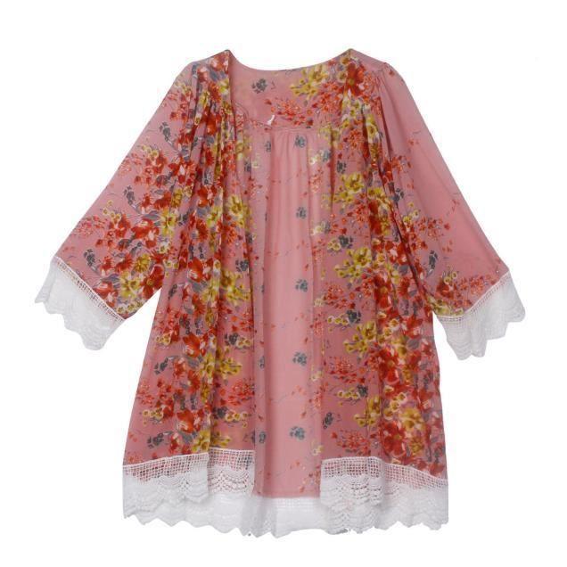 Femmes Châle Cardigan Blouse Cover Imprimées Kimono Soie Mousseline De rose Up En Tops SCWa1xwqS