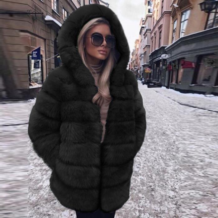 nouveau produit 29aa2 53c32 Manteau fausse fourrure noire femme