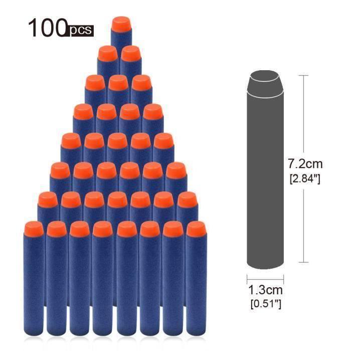 BALLE - BOULE - BALLON 100 pcs Recharge Nerf Fléchettes Balle de Nerf 7.2