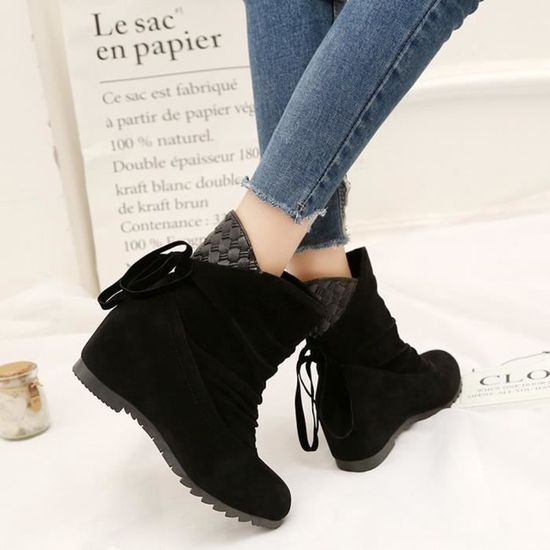 Reservece Shoes Femmes Wedges Ankle Noir Flat Low Martin Boots Slip Casual on nN0OPXwk8