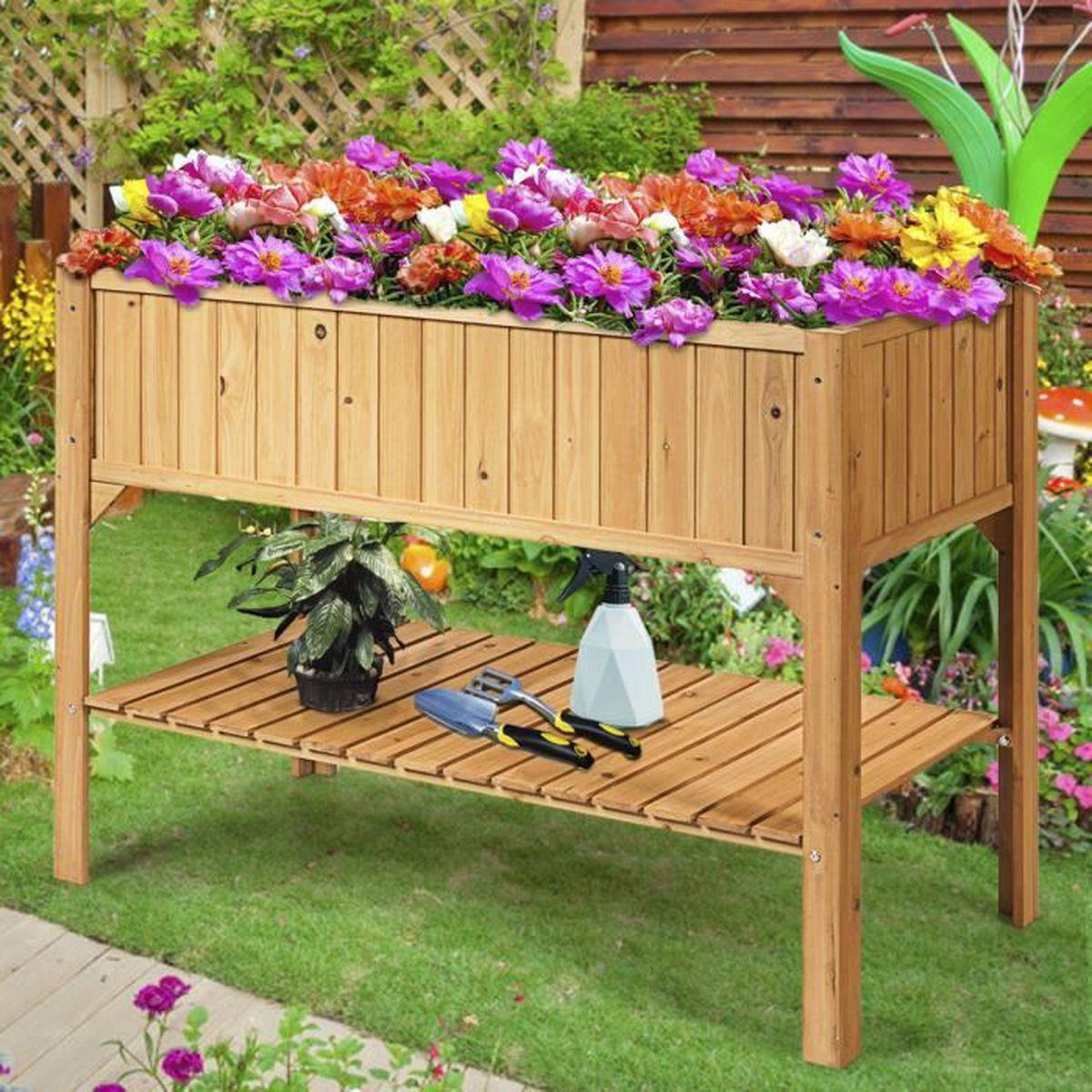 Jardin en bois Planters Outdoor plantes fleurs pot carré rectangulaire Display NEW