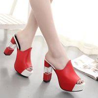 Eté Femmes Mules Sandales Talon Haut Plateforme Peep Toes Talon Cristal Chaussures Femmes Chunky blanc 38 9WzQ64z