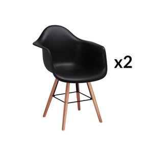 CHAISE Lot de 2 chaises scandinaves noires avec accoudoir