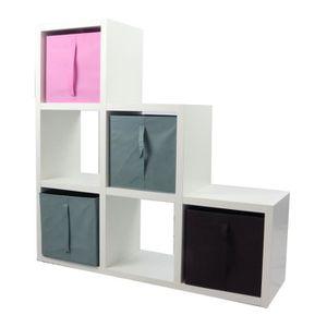 MEUBLE ÉTAGÈRE COMPO Meuble De Rangement 6 Cases + 4 Cubes Rose/G