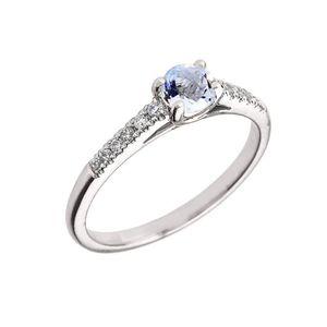BAGUE - ANNEAU Bague Femme 10 Ct Or Blanc Diamant Et Aquamarine