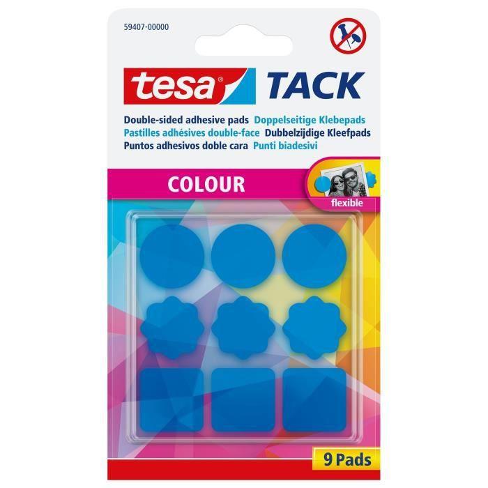 TESA 9 pastilles adhésives TACK Couleur - Bleu