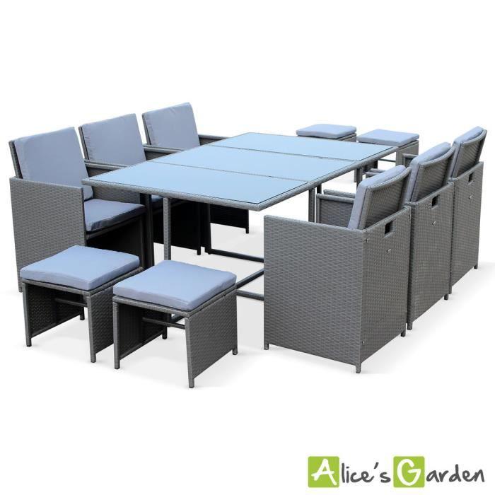 Salon de jardin Berceto Gris table en résine tressée 6 à 10 places ...