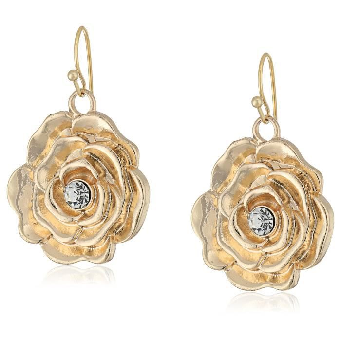 1928 Jewelry Gold-tone Crystal Accent Flower Clear Drop Earrings QNF35