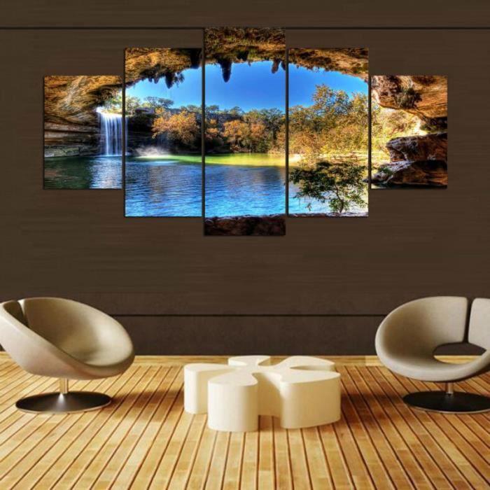 5 Pcs Décoration Murale Art Toile Cascade Peinture Sans Cadre Le