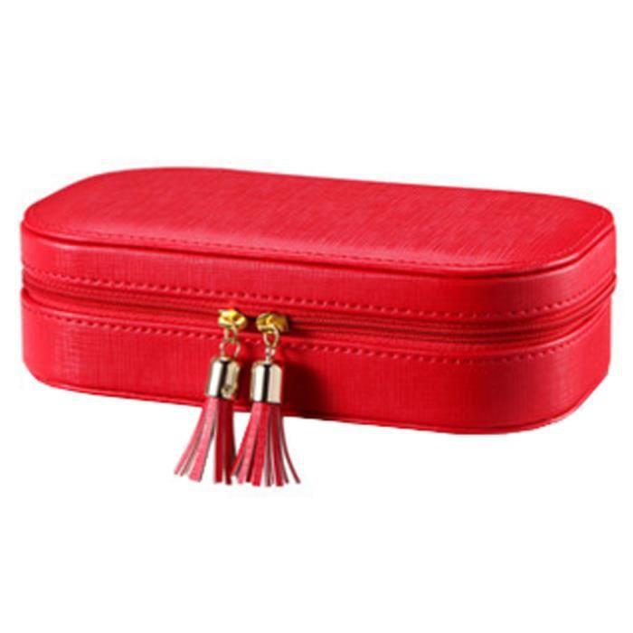 Coffret à bijoux Parfait Anneaux Collier Boucles doreilles organisateur, Rouge