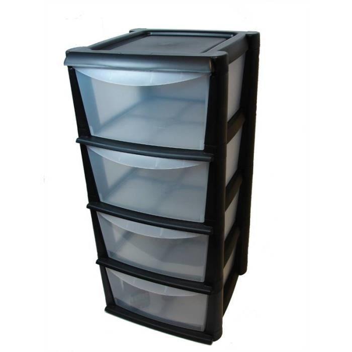 Unit de rangement en plastique avec 4 tiroirs profonds for Petit meuble rangement avec tiroirs