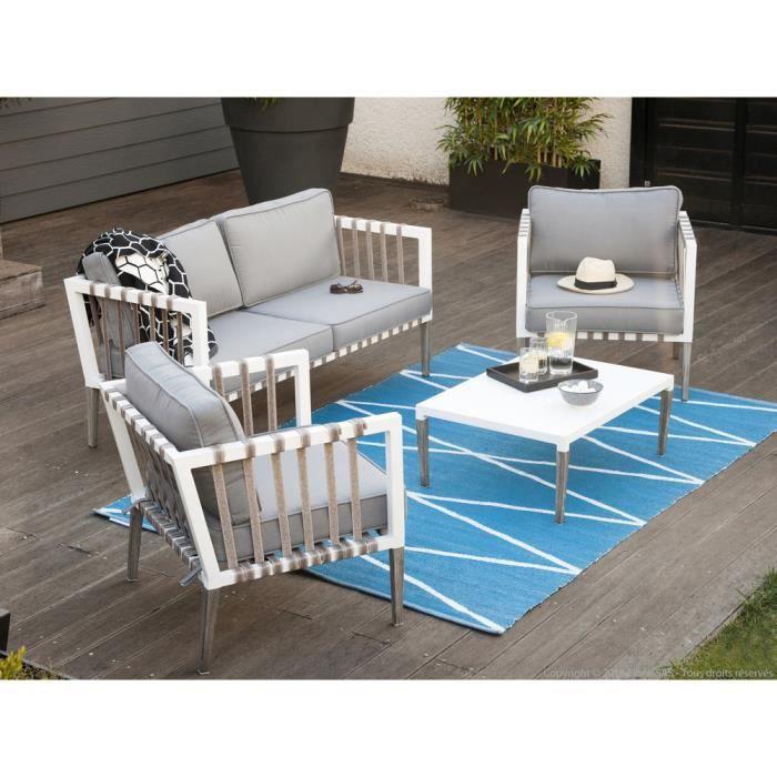 Salon de jardin bas table basse avec 2 fauteuils et un canapé 2 ...