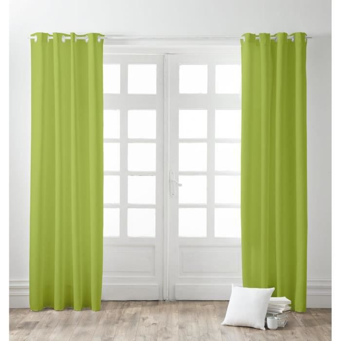 rideaux vert achat vente rideaux vert pas cher cdiscount. Black Bedroom Furniture Sets. Home Design Ideas