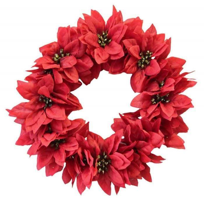 couronne de no l rouge poinsettia etoile de no l artificielle 30cm achat vente fleur. Black Bedroom Furniture Sets. Home Design Ideas