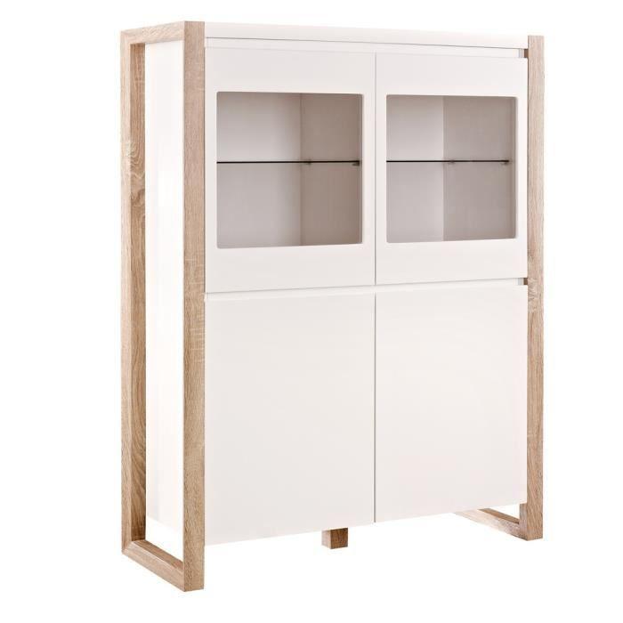 matelpro meuble de rangement contemporain 4 portes blanc mat esp rance l 100 x h 130 x p 39 5. Black Bedroom Furniture Sets. Home Design Ideas