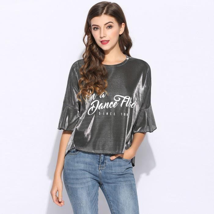 d044be8f7b404 T-shirt pull Loose Lettre argent imprimé papillon Long et bas ourlet ...