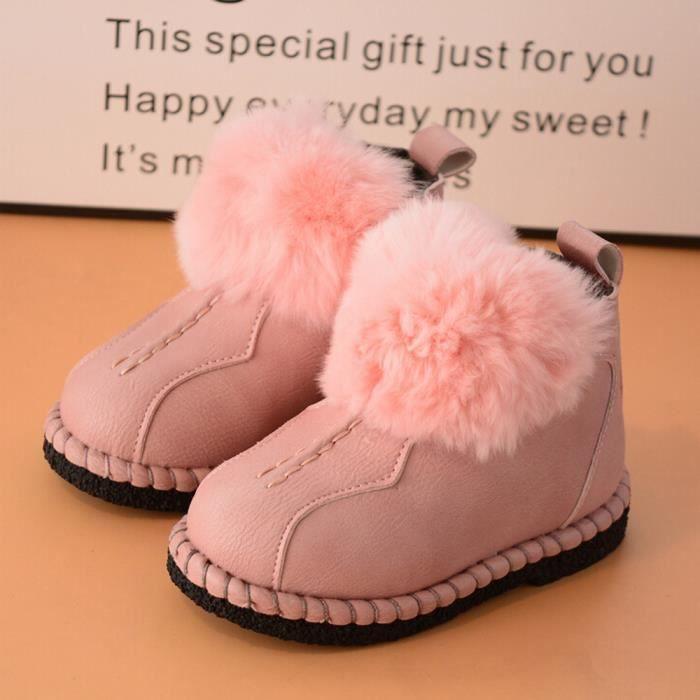 Bébé enfants tout-petits bébés filles garçons chaussures en cuir hiver Martin bottes de neige chaussures Rose