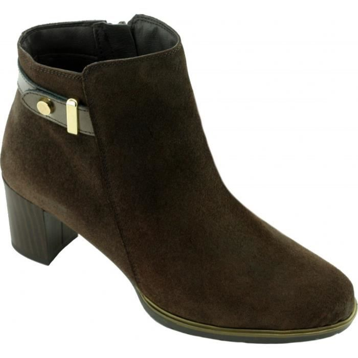 HERICA - Bottine bout rond boucle déco et talon façon bois marques Angelina chaussures Femme cuir velours marron