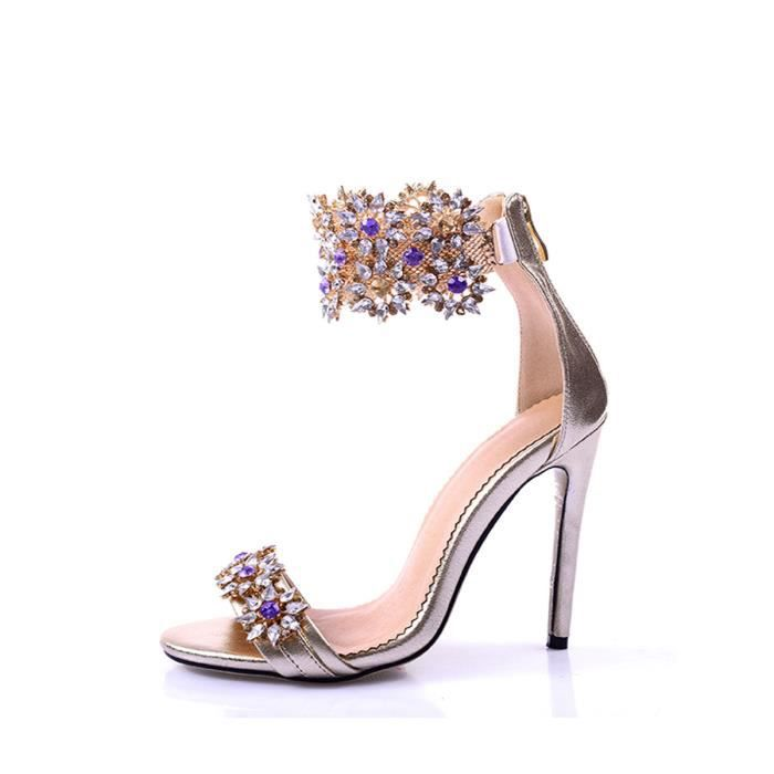 Sandales strass Ornement doux style ouvert Toe Faddish Chaussures femme 5701756