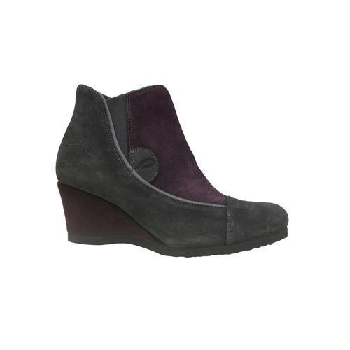 Low boots PRATIK compensés cuir gris/prune