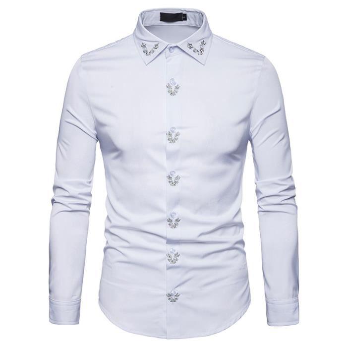 regarder 6cbc0 5b15a Chemise Homme Marque Luxe Broderie Chemises Pour Homme Manche Longue