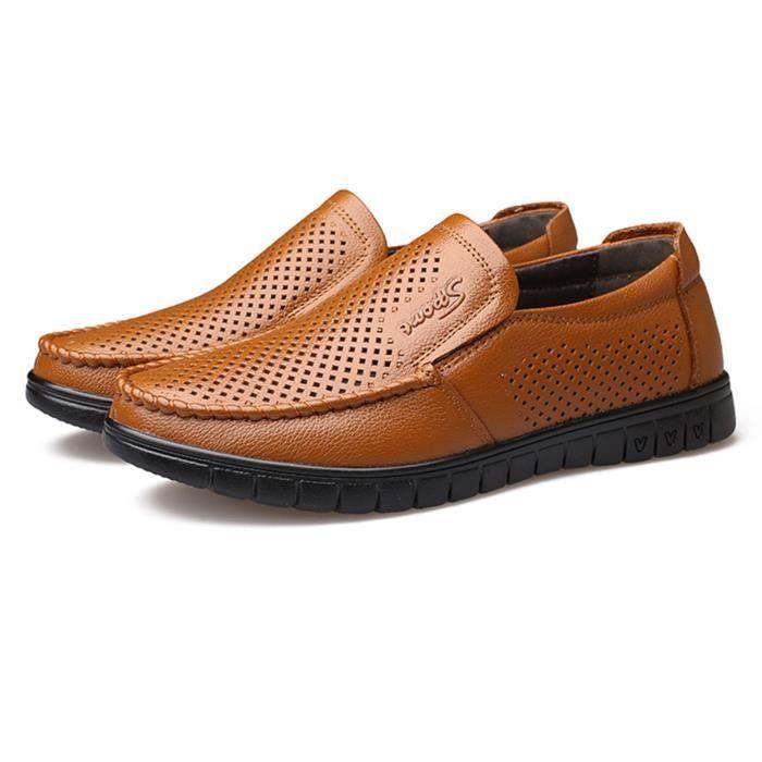 Flaneurs Male Ete Souple Decontractees Veritable Plat Chaussures 2018 Respirant Printemps Hommes Chaussure Mocassin Cuir De XYqEnE